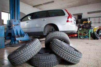 new tyres in workshop