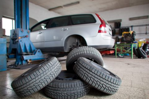 new tyres in workshop